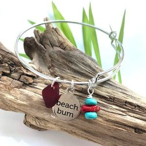 COPY - Adjustable Genuine Red Sea Glass Bangle Br…